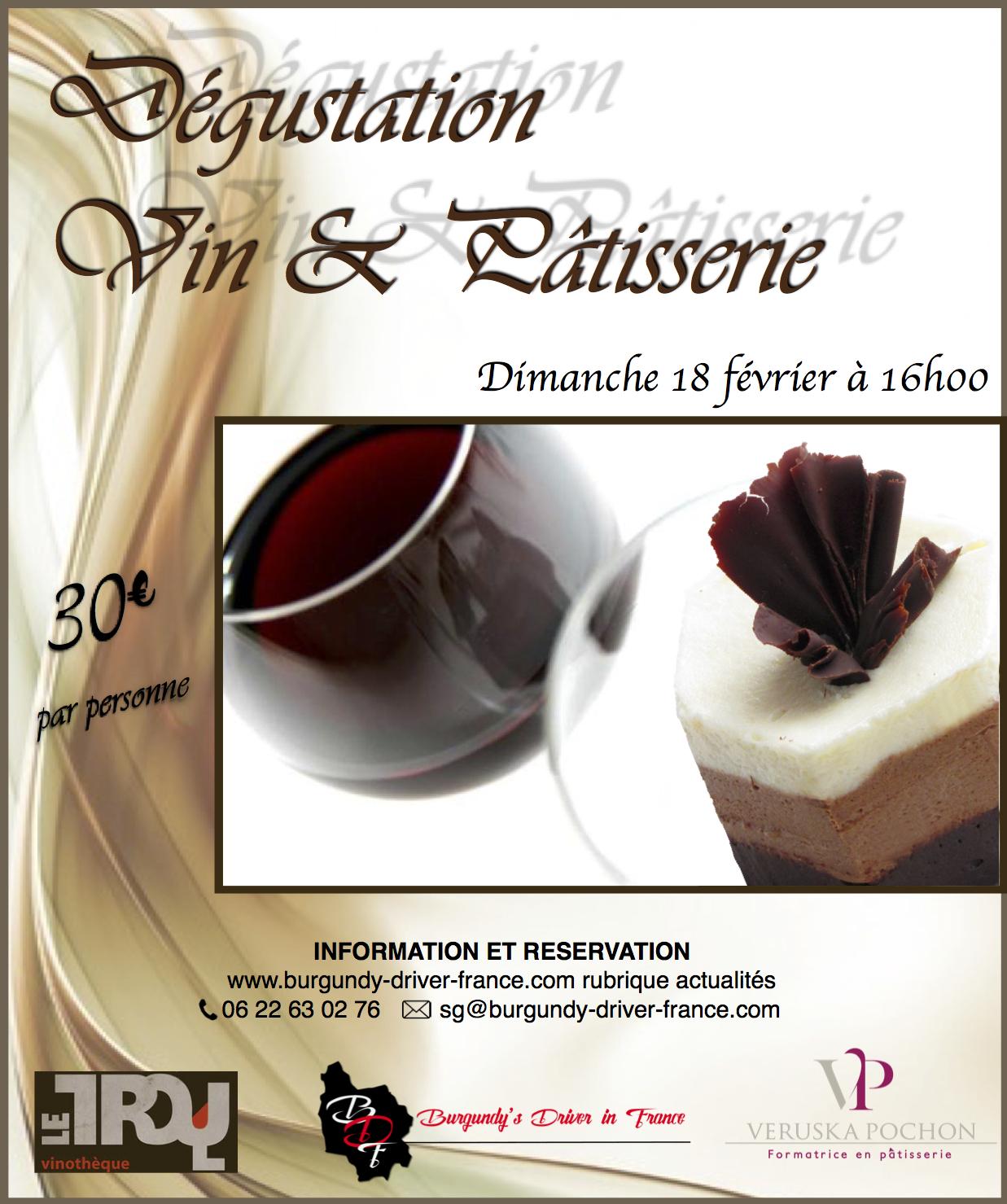 degustation vin patisserie 18 février